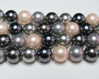 "Shell Pearl Beads. Soft Pink And Grey Mix. 10mm Round. 16"" Strand."