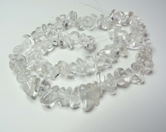 """Clear Quartz Large Nugget Chip Beads 15"""" String."""