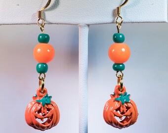 Halloween Jack-o-lantern earrings-X114