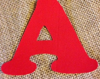 Red Fabric Iron on Letters- appliqué