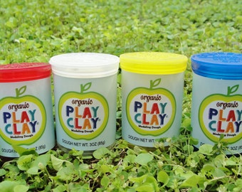 Organic Play Clay -- Vegan, Naturally Non-Toxic, Non-GMO Play Dough