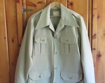 Vintage 70's Levis Panatela Coat Vintage Beige Levis Jeans four pocket jacket Disco hippie That 70's show jacket - Large