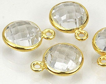 HIZE CCQ02 Faceted Crystal Quartz Round Gold Vermeil Plated Bezel Bead Charms 9mm (4)