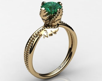 Swan 14K Yellow Gold 1.0 Ct Emerald Fairy Engagement Ring R1029-14KYGEM