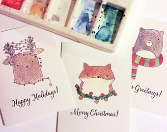 Warm & Fuzzy Animal Holiday Christmas Card Set | Printed Set of 3, 15, or 24