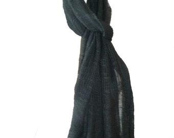 Grey Pure Cotton Long Scarf Lightweight Soft Feel Open Weave Fairtrade