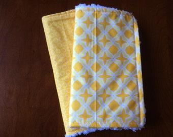 Burp Cloths - Yellow Designer Baby Burp Cloths Set of 2