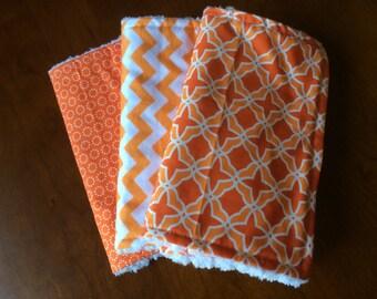Burp Cloths, Designer Burp Cloths, Orange Designer Baby Burp Cloths - Set of 3