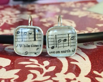 Antique Sheet Music Earrings Musical Notes