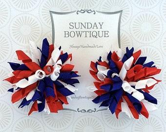 4th of July Hair Bow, Korker Hair Bows, Set of 2 Medium, Red White Blue Bow, Red Korker, Blue Korker, White Korker, Patriotic Hair Bow