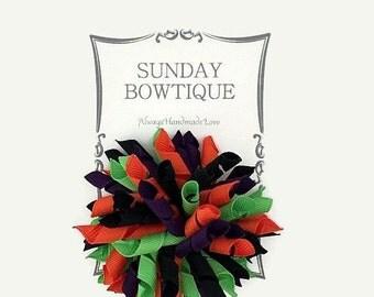 Witch Korker Hair Bow, Korker Hair Bow, Purple Black Orange Neon Green, Halloween Hair Bow, Halloween Costume, Bow