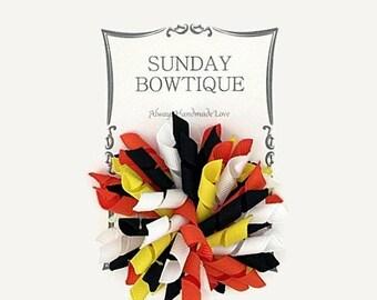 Candy Corn Korker Hair Bow, Large Korker, Korker Hair Bow, Orange Black White Yellow, Candy Corn, Halloween Korker, Fall Korker, Bow