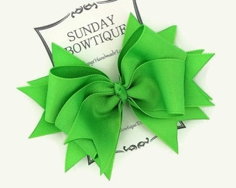 Neon Green Hair Bow, Stacked Boutique Bow, Green Boutique Bow, Green Hair Bow, Neon Hair Bow, Fluorescent Hair Bow, Bright Hair Bow