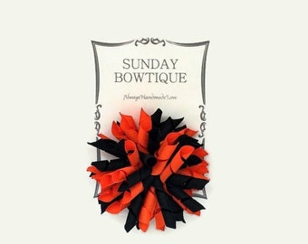 Orange And Black Korker Hair Bow, Korker Hair Bow, Halloween Hair Bow, Halloween Costume, Black And Orange Korker, Orange And Black
