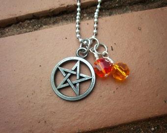 Pentagram & Fire Element Necklace w/Swarovski Crystals