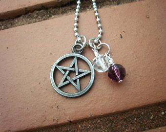 Pentagram & Spirit Necklace w/Swarovski Crystals