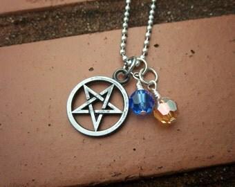 Pentagram & Air Element Necklace w/Swarovski Crystals