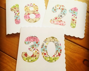 Number Birthday Cards Handmade