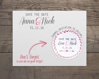 Printed Save the date invites with save the date magnet, unique wedding invites, wedding favors, save the date magnet, save the date