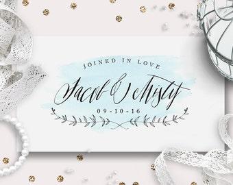Wedding Monogram, Custom Logo Design | Watercolor Script | DIY Digital Wedding Logo | Save the Date | Wedding Stationery | Printable
