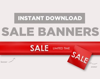 Red Shop Sale Banner | INSTANT DOWNLOAD | Avatar + Store Banner | Bright Red, Sale Banner