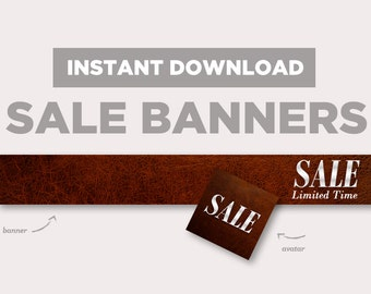 Leather Shop Sale Banner | INSTANT DOWNLOAD | Avatar + Store Banner | skin banner, brown, quality