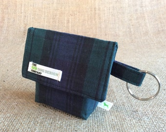 Dog Pouch, Great for out walking your dog, Green & Blue Tartan Dog Treat Pouch, Waste Bag Carrier