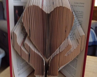hands and heart book folding pattern 250 folds PATTERN ONLY, book folding pattern,heart book,love book fold pattern,heart in hands book fold