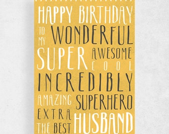 Happy birthday  card for Husband funny card for husbandHappy birthday  to my wonderful  Super awesome cool incredibly  amazing superhero ...