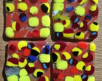 Fused Glass Multicolored Orb Coasters