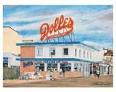 Dolle's - Rehoboth Beach Boardwalk Watercolor Print, Beach Painting, Beach wall art, Christmas gift ideas