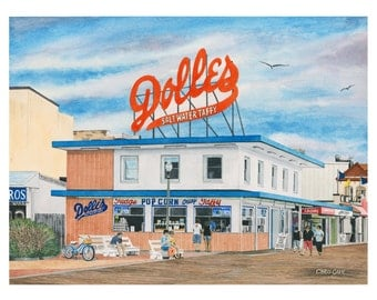 Dolle's - Rehoboth Beach Boardwalk Watercolor Print, Beach Painting, Beach wall art, Christmas gift ideas