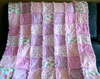 Custom Rag Quilt - Baby Girl Blanket - Baby Girl Quilt - Nursery Bedding - Crib Bedding - Patchwork Quilt - Baby Shower Gift - Handmade