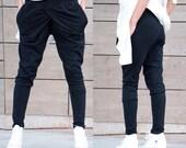 Women Pants/ Harem Pants/ Plus Size Pants/ Loose Pants/ Women Black Pants/ Drop Crotch Pants/ Casual Trousers/ Women Black Trousers