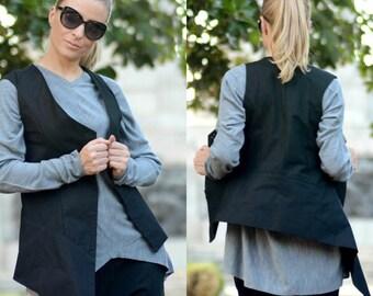 Asymmetric Vest / Black Vest / Women Vest / Black Jacket Vest / Asymmetric Top / Sleeveless Jacket / Designer Jacket / Vest Top
