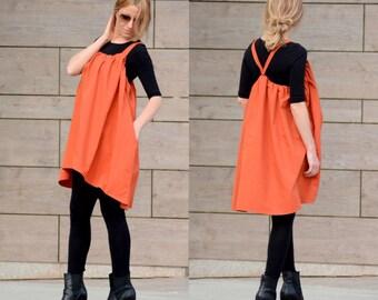 Tunic Dress/ Plus Size Tunic Dress/ Maxi Tunic Dress/ Midi Dress/ Open Back Dress/ Pleated Dress/ Strappy Dress/ Maternity Dress