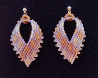 Amber color Russian Leaf Earrings