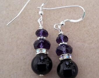 Swarovski purple velvet rondelle & black round earring