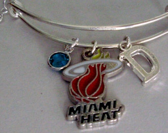 NBA Miami Heat CHARM Bangle - w/ Initial / Birthstone  -BasketBall  Bracelet - Stackable  Gift For Her NBA Sports Bangle - Usa  B1