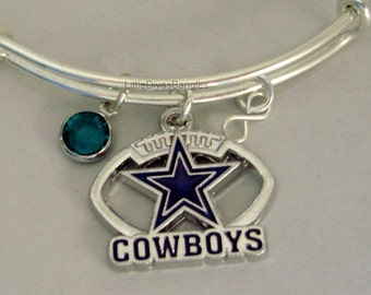 NFL Dallas Cowboys CHARM Bangle W/ Birthstone /  Football Charm Bangle / Bracelet   Sports Bracelet -Gift For Her /  NFL Bangle  Usai sp1
