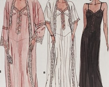 Vintage 1980s Vogue Lingerie Sewing Pattern 9764 Robe Nightgown Size L XL Uncut