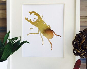 Gold Foil Print, Stag Beetle Print, Foil Art, Bug Art, Insect Print, bugs, insect art, Gold art