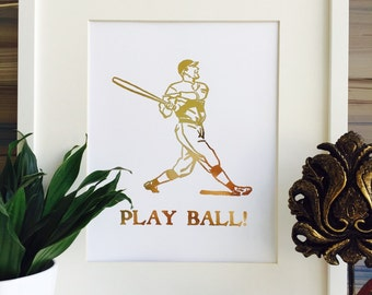 Baseball Print, Gold foil Print, Baseball Decor, Gold Wall Art, baseball gifts, sports print