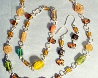 Multi-colored 3 Piece Jewelry Set