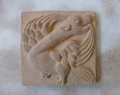 Dragon. Fire-clay dragon. Ceramic dragon. Bas-relief. Ceramic tile. Gothic. Medieval. Chimeras. 16th century.