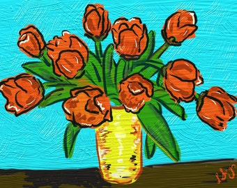 Tulips in a Vase, DIGITAL DOWNLOAD, oil painting, still life, red tulips, wall hanging, bright,colorful, flowers,blue, red, yellow, original