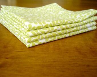 SALE***Cocktail Napkins - Set of 4 / Fabric Napkins / Green White Leaf Napkins / Reusable Napkins / Party Napkins / Ready To Ship