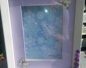 Lilac butterfly's and buttons box frame
