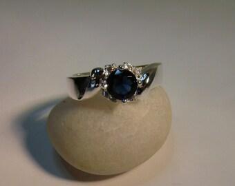 Elegant Crystal Sapphire Ring