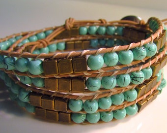 4 Layer EgyptianTurquoise Wrap Bracelet